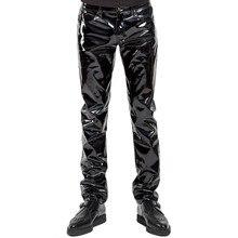 Lingerie en Faux cuir pour hommes, Sexy, noir, effet mouillé, pantalon exotique, PU Latex, Catsuit, fermeture éclair, PVC, vêtements de scène, Clubwear, gay, fétiche