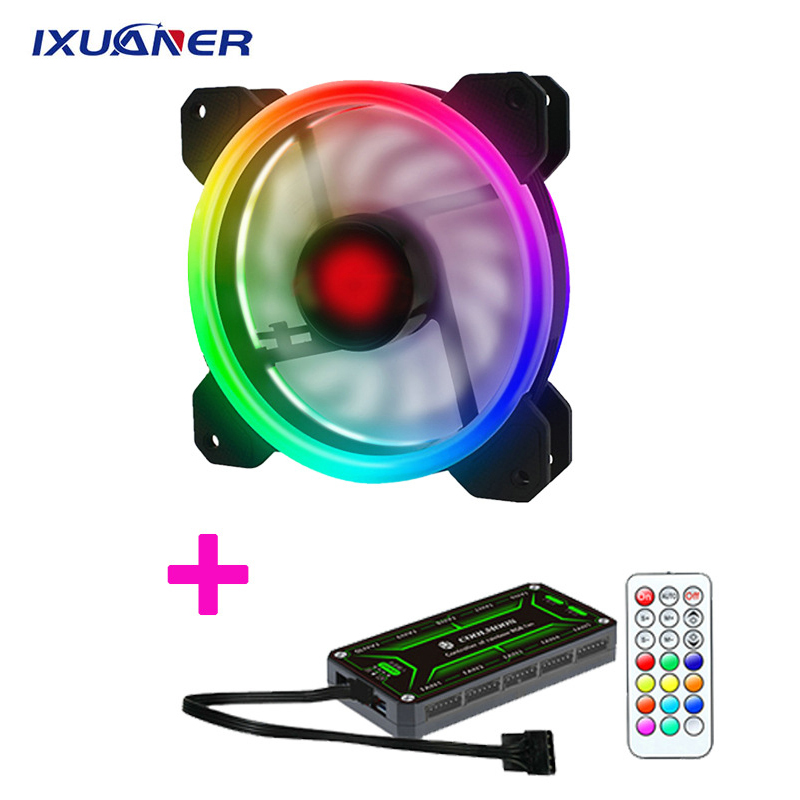 Remote DR12 Pro Computer <font><b>PC</b></font> Case <font><b>Fan</b></font> RGB Adjust LED <font><b>Fan</b></font> Speed <font><b>120mm</b></font> Quiet Remote AURA SYNC Computer Cooler Cooling RGB Case <font><b>Fans</b></font> image