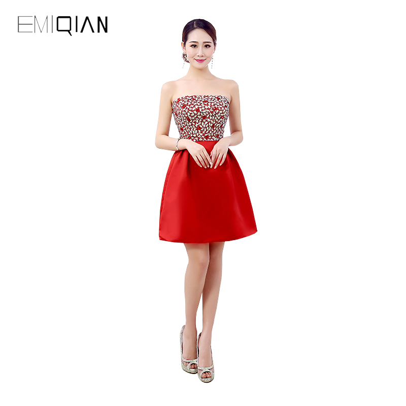 Freeshipping New Arrival Custom Made Strapless Shiny Beaded Cocktail Dress