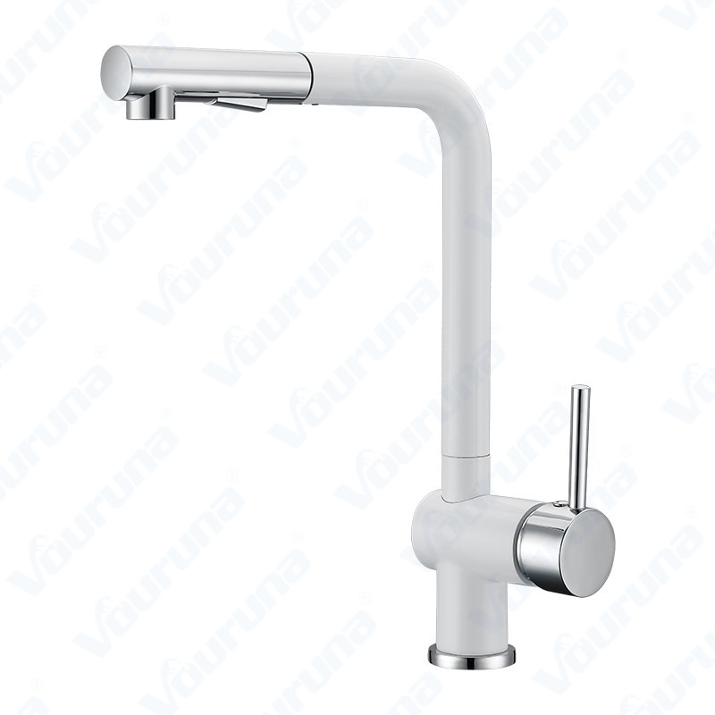 Vouruna PullOut Kitchen Faucet White Pull Out Sprayer