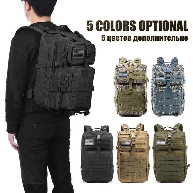 50L Capacity Waterproof Army Military Tactical Large Backpack