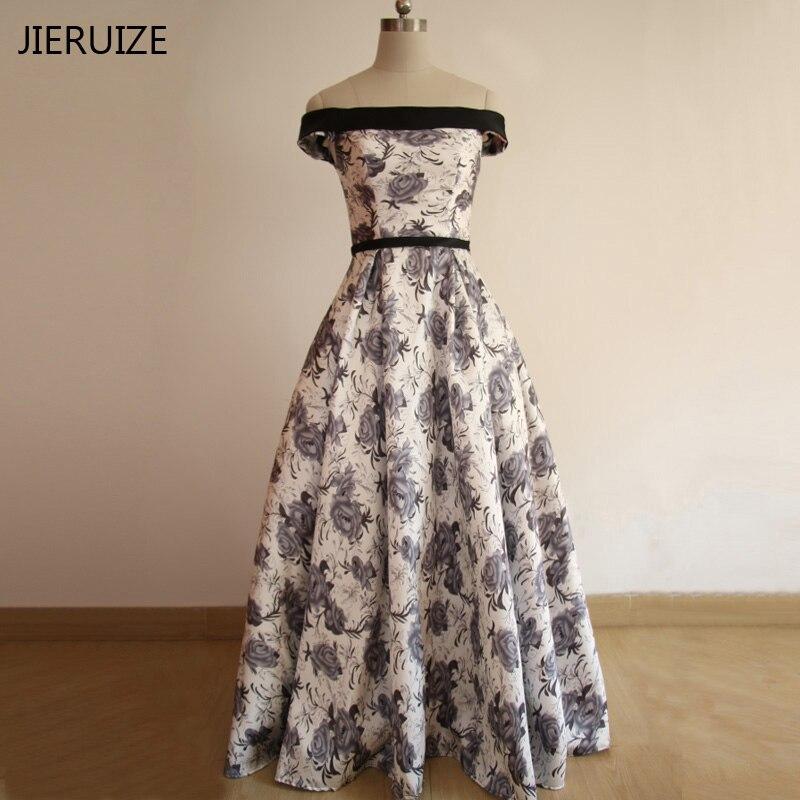 JIERUIZE White Print Floral Günstige Abendkleider Lange 2018 Von Der Schulter Abendkleider Abendkleider