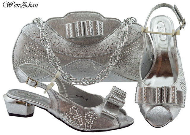 Latest Peach Italian Women Wedding Shoes and Bag Set Decorated With Flower Nigerian Shoes and Matching Bags For Women B93-2