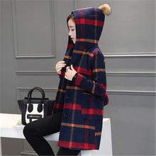 New Autumn Winter 2016 Women Fashion Elegant Woolen Hooded Jacket Plaid Loose Big yards England Medium