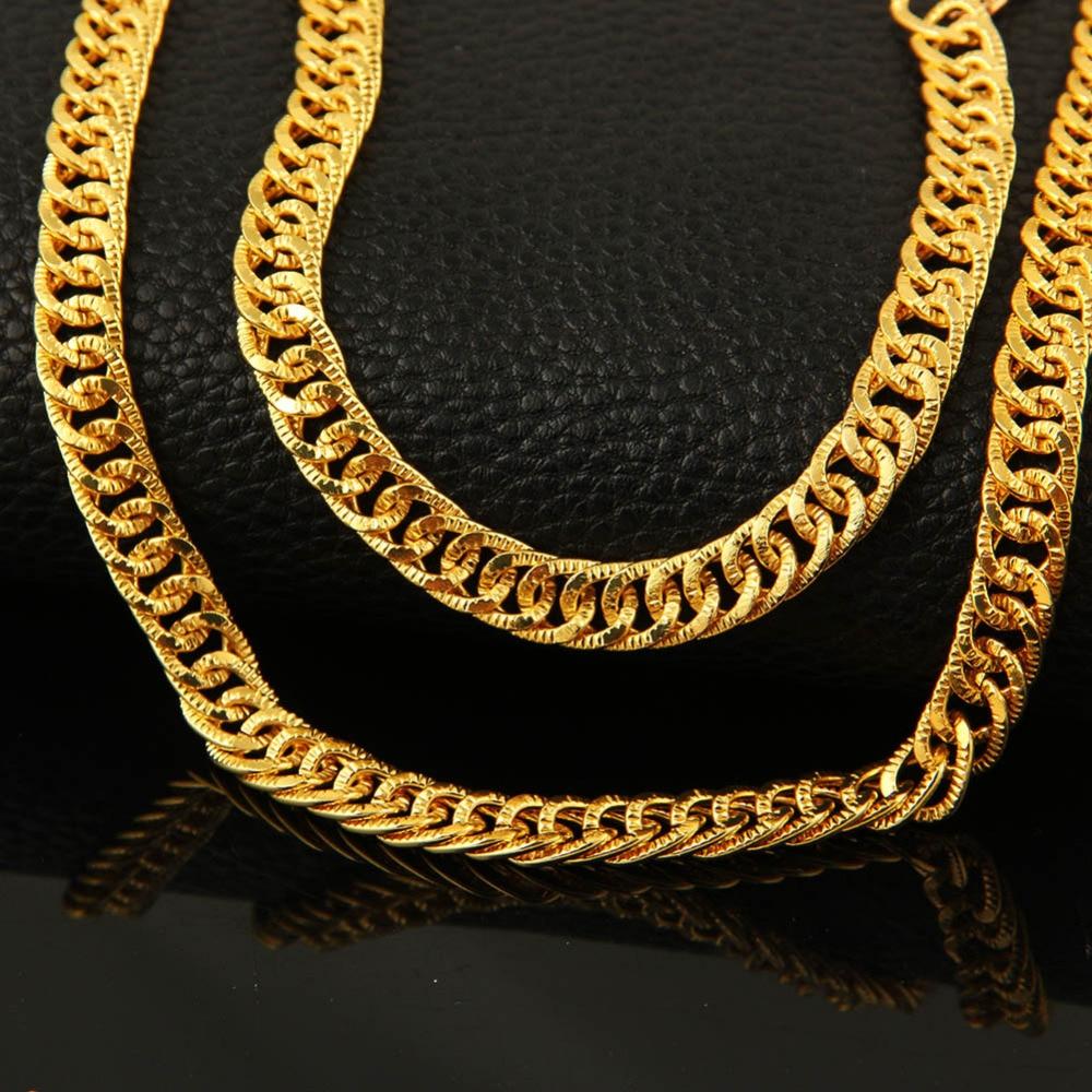 Dubai gold color jewelry sets for women men long link gold chain ...