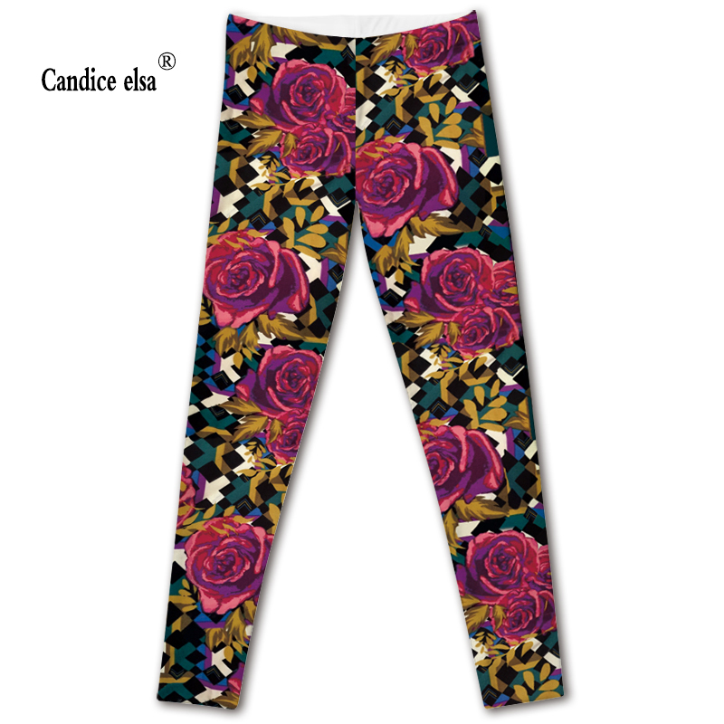 CANDICE ELSA women leggings workout legging fitness female pants elastic red rose flower printed sexy trousers plus size