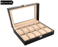 10 Slots Grid black watch box for men and women PU leather universal hardware lock jewelry box