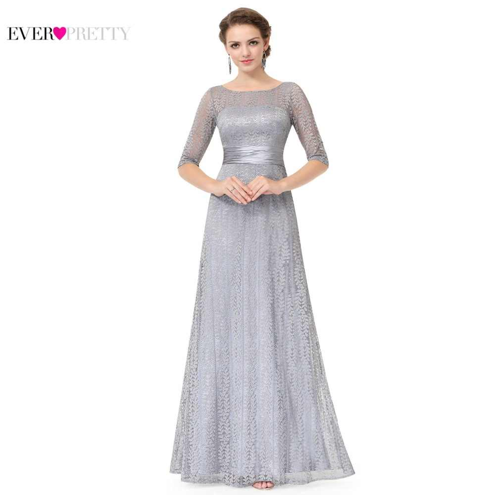 Women\'s Elegant Long Mother of the Bride Dresses 2019 Ever Pretty EP08878  Cheap Grey Lace Floor-Length Plus Size Mother Dresses
