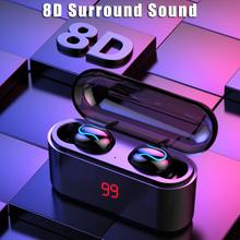 HBQ TWS Bluetooth Headset 5.0 Wireless Headphones Sports Headphones Handsfree 3D Stereo Headphones With Microphone Charging Box 2017 newest k6 business bluetooth earphone headphones stereo wireless handsfree car driver bluetooth headset with storage box