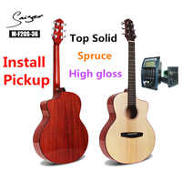 Travel Guitar Acoustic Solid Spruce Electric Steel-String 36 Inches Mini Guitarra 6 Strings Folk Pop Pickup High Gloss Mahogany