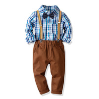 Toddler Boys Clothing Set 2019 Spring Kids Clothes Long Sleeve Plaid Shirt Overalls Gentleman Set Children Boy 2 4 5 6 7 8 Years