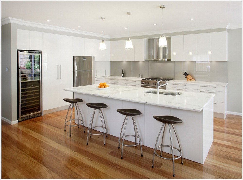 US $150.0 |2016 vendite calde di nuovo disegno bianco laccato lucido mobili  da cucina modulare cucina ad isola cabient mobili da cucina su misura-in ...
