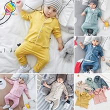 Lemonmiyu/Детские пижамы для новорожденных; Модный хлопковый спальный костюм для маленьких мальчиков и девочек; весенне-осенняя одежда для сна унисекс с длинными рукавами