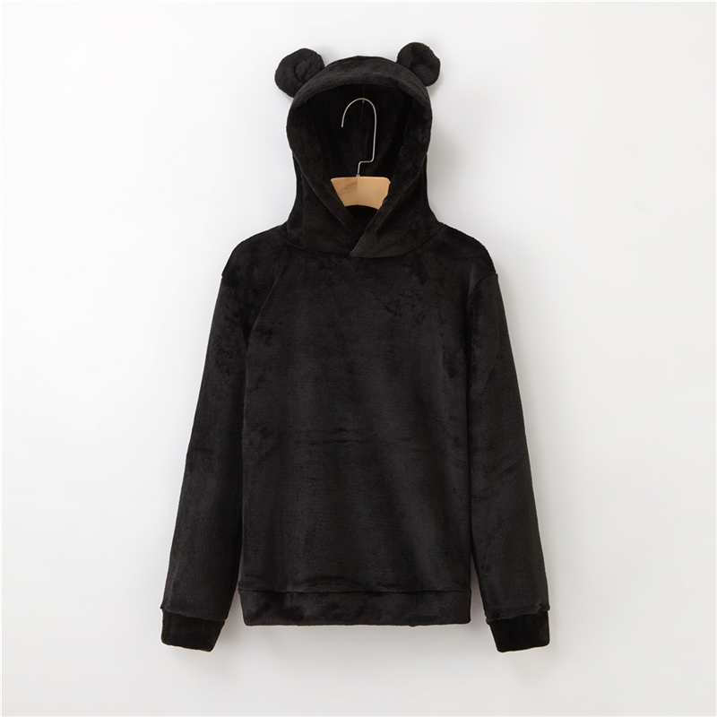 Women's Flannel Hoodies Sweatshirts Lovely With Bears Ears Solid Warm Hoodie Autumn Winter Casual Campus Pullovers Coat 7