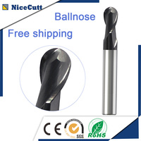 Free Shipping High Speed Milling Machine Solid Carbide Ball Nose End Mill 35 Degree 2 Flute