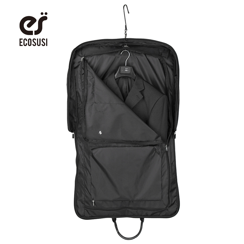 ECOSUSI New Travel Bag High Quality Suit Bag Black Fold Garment Men's Travel Bags With Zippered Pocket Portable Storage Bag portable pp1440 cd zippered bag black page 6