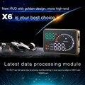 2017 Sistema de Alarma de Coche Universal Car Styling X6 HUD Proyector de Cabeza Up Display KM/h MPH Advertencia De Exceso De Velocidad OBD II HUD Inteface