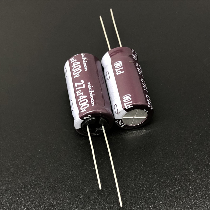 5Pcs/50Pcs 27uF 400V NICHICON PT Series 12.5x25mm High Ripple Current Long Life 400V27uF Aluminum Electrolytic Capacitor