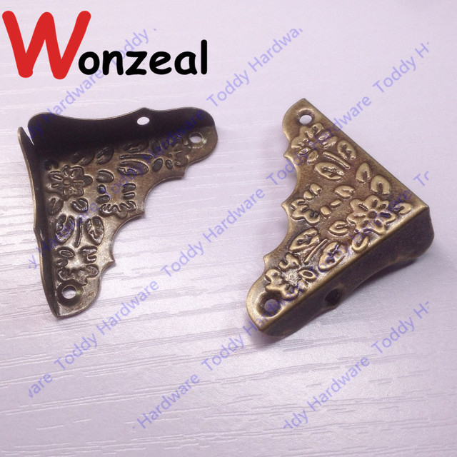 12pcs 37mm Decorative Antique Brass Jewelry Chest Wine Gift Box Wood ...