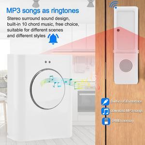 Image 4 - Sonnette étanche sans fil 433MHZ sonnette 200M à distance maison MP3 télécharger sans fil porte cloche anneau cloche
