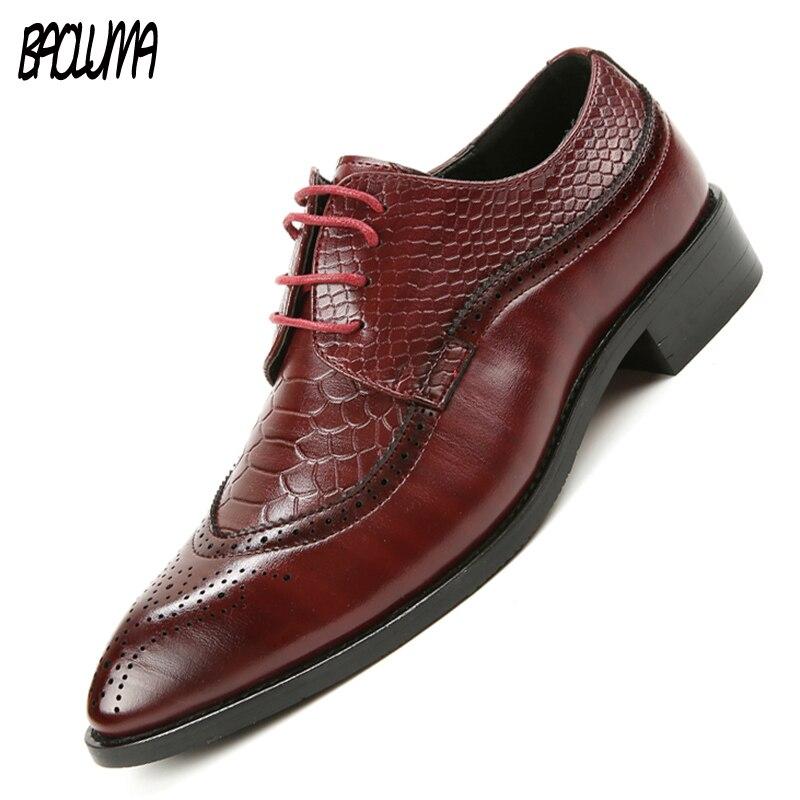 BAOLUMA Size 46 47 48 Fashion Pu Leather Men Dress Shoes Pointed Toe Bullock Oxfords Shoes Men Lace-up Designer Luxury Men Shoes костюм радужной клоунессы 46 48