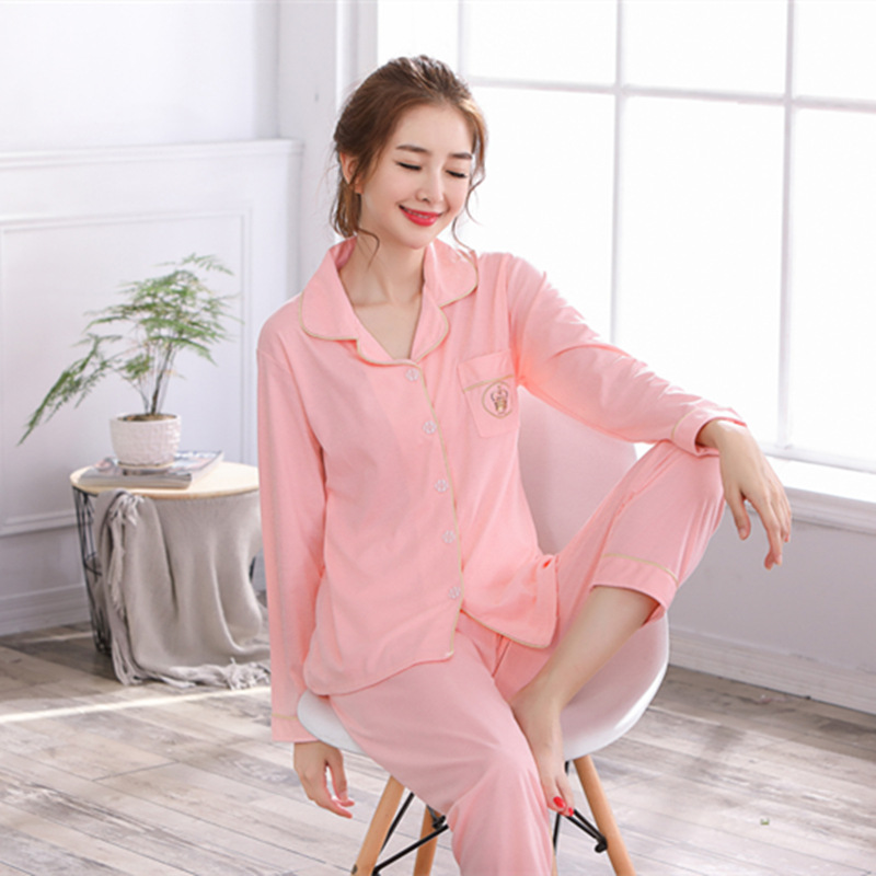 Pajamas     Sets   Couples Satin Silk Solid Pocket Fashion Women Long Sleeve Sleepwear Suit 2 piece Sexy Spring Home Lounge Gift