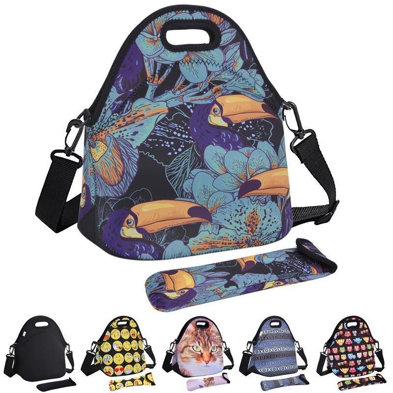 Cute Animals Neoprene Lunch Bag For Women Cat Emoji Face Pattern Lunch Bags Picnic Handbag with Tableware Pocket Children Snacks недорго, оригинальная цена