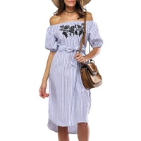 SHEIN Casual Dresses For Woman 2016 Ladies Blue Vertical Striped Off The Shoulder Half Sleeve Embroidered