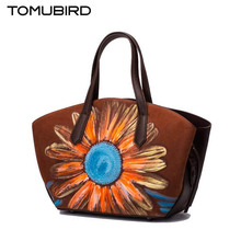 2017 new TOMUBIRD superior cowhide leather Designer Classic Painted Embossed Floral Genuine Leather Tote women Shoulder Handbags