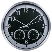 12 inch Creative Needle Wall Clocks with Thermometer&Hygrometer Aluminum Mute Circular Living Room Wall Clock Christmas Gifts