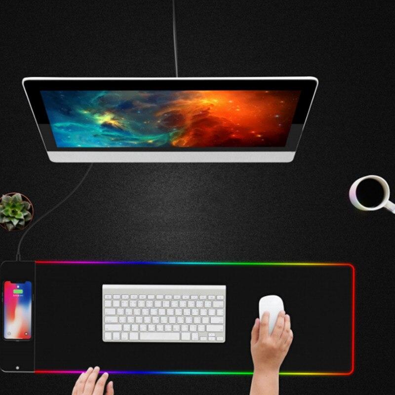 HOT 2 en 1 tapis de souris chargeur sans fil Mousepad lumineux chargeur rapide pour bureau Gamer livraison directe