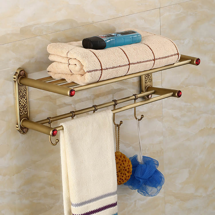 Antique Carving Bath Towel Racks Bronze Red Crystal Bathroom Towel Holder Double Towel Shelf Bathroom Accessories nail free foldable antique brass bath towel rack active bathroom towel holder double towel shelf with hooks bathroom accessories