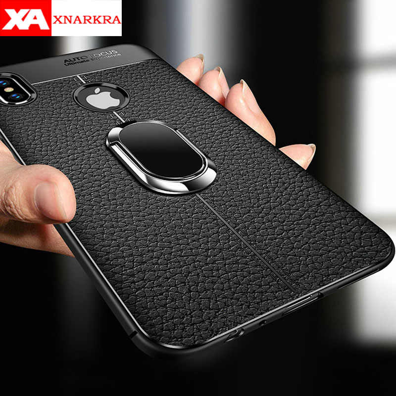 Soft Silicone Leather Back Phone Case For iPhone 11Pro XS MAX XR X With Magnetic Car Holder Cover for iPhone 7 8 6 6S Plus Coque
