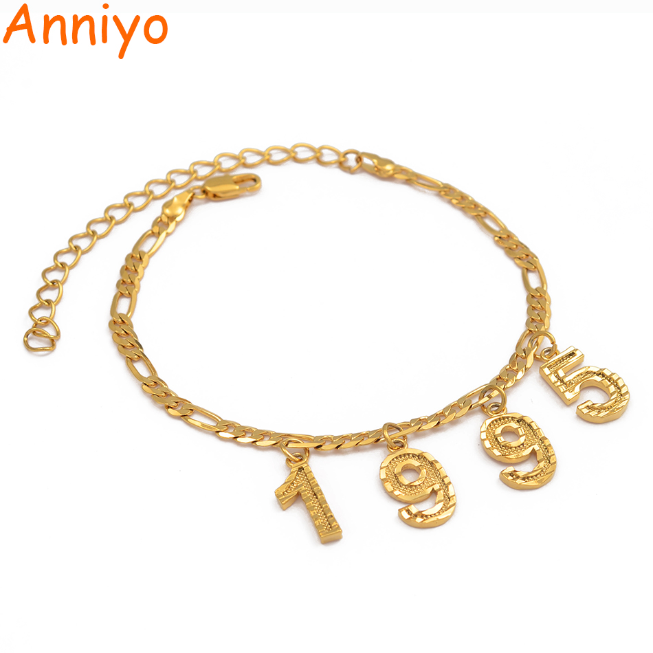 Anniyo Custom Digital Jewelry English Number Anklet Birthday Gift Personalized Birth Year Foot Chains Women Mom Girls #214706