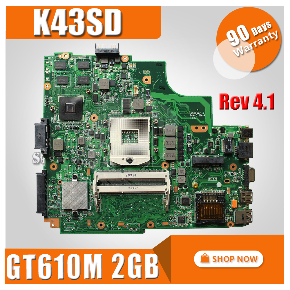 K43SD Motherboard Rev 4.1 GT610M 2GB USB3.0 For ASUS K43SD X43S A43SD Laptop motherboard K43SD Mainboard K43SD Motherboard щетка стеклоочистителя bosch aerotwin rear a 280 h 280 мм задняя 3397008005