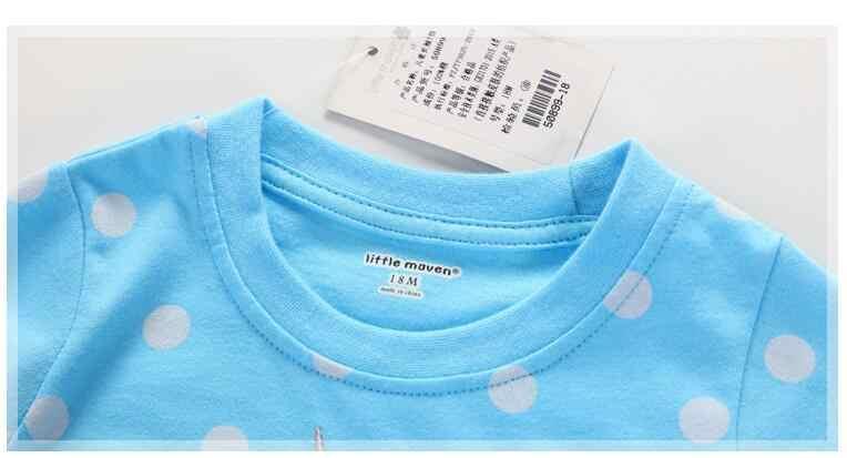 ليتل مافين الأطفال ماركة طفلة الملابس 2017 الخريف جديد الفتيات قميص قطني بكم طويل دوت السماء الزرقاء القماش يونيكورن t قميص 50899