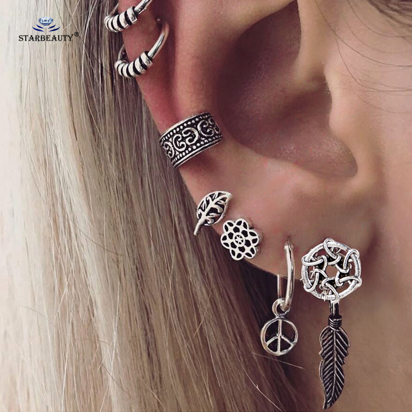 Starbeauty 7 pcs/lot Retro Leaf Peace Ear Piercing Helix Piercing Cartilage Fake Nose Ring Tragus Pircing Earrings Body Jewelry body jewelry