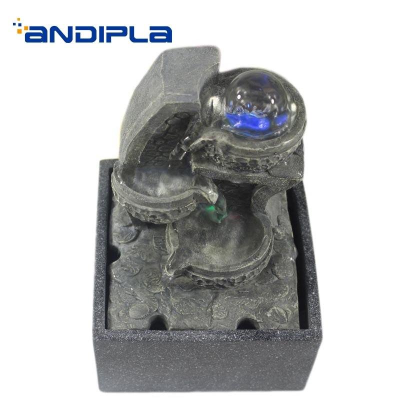 110/220 V résine naturelle Feng Shui fontaine d'eau boule de cristal défilement paysage aquatique décoration Figurines Miniatures artisanat envoyé ami