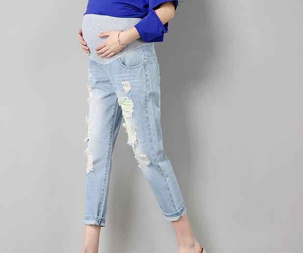 c1c5ac4da ... Nuevos pantalones vaqueros de maternidad para mujeres embarazadas  vaqueros de lactancia largo Prop vientre Legging Skinny