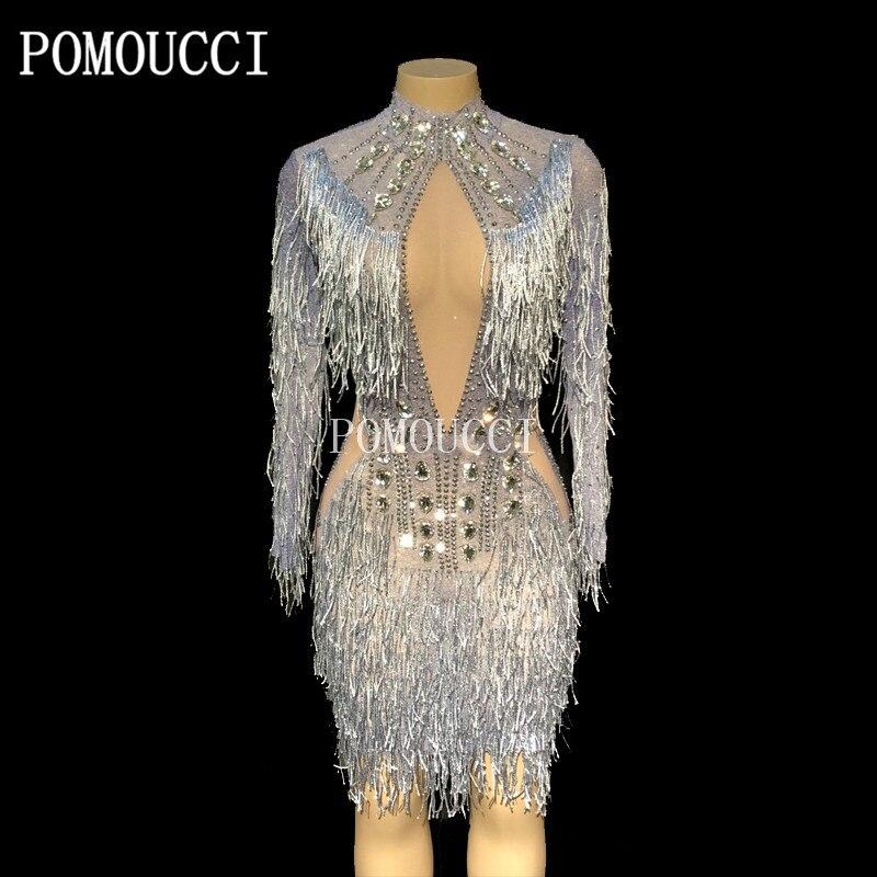 Femmes nouvelle mode gland Perspective Sexy robe anniversaire célébrer voir à travers la robe en maille gris franges Costume danse robe