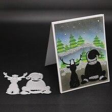 AZSG Christmas Santa Claus Reindeer Cutting Dies For DIY Scrapbooking/Card Making/Album Decorative Metal Die Cutter Crafts
