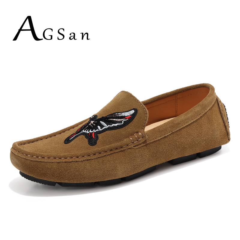 AGSan Genuine Leather Loafers Men Cow Suede Driving Shoes Luxury Brand Mens Moccasins Slipon Fashion Mens Loafers Brown Burgundy zenvbnv high quality summer cow genuine leather men shoes soft loafers fashion brand men moccasins flats comfy driving shoes