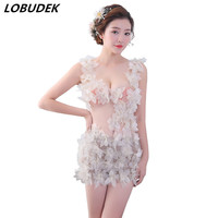 Party Nightclub flower hollow sexy female dress Deep V see through package hips Dress Ballroom model stage performance costumes