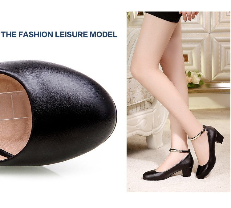 YALNN New Women's High Heels Pumps Sexy Bride Party Thick Heel Round Toe leather High Heel Shoes for office lady Women 18