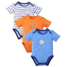 SexeMara 3 pcs Short Sleeve Romper Grade Toddler Cotton