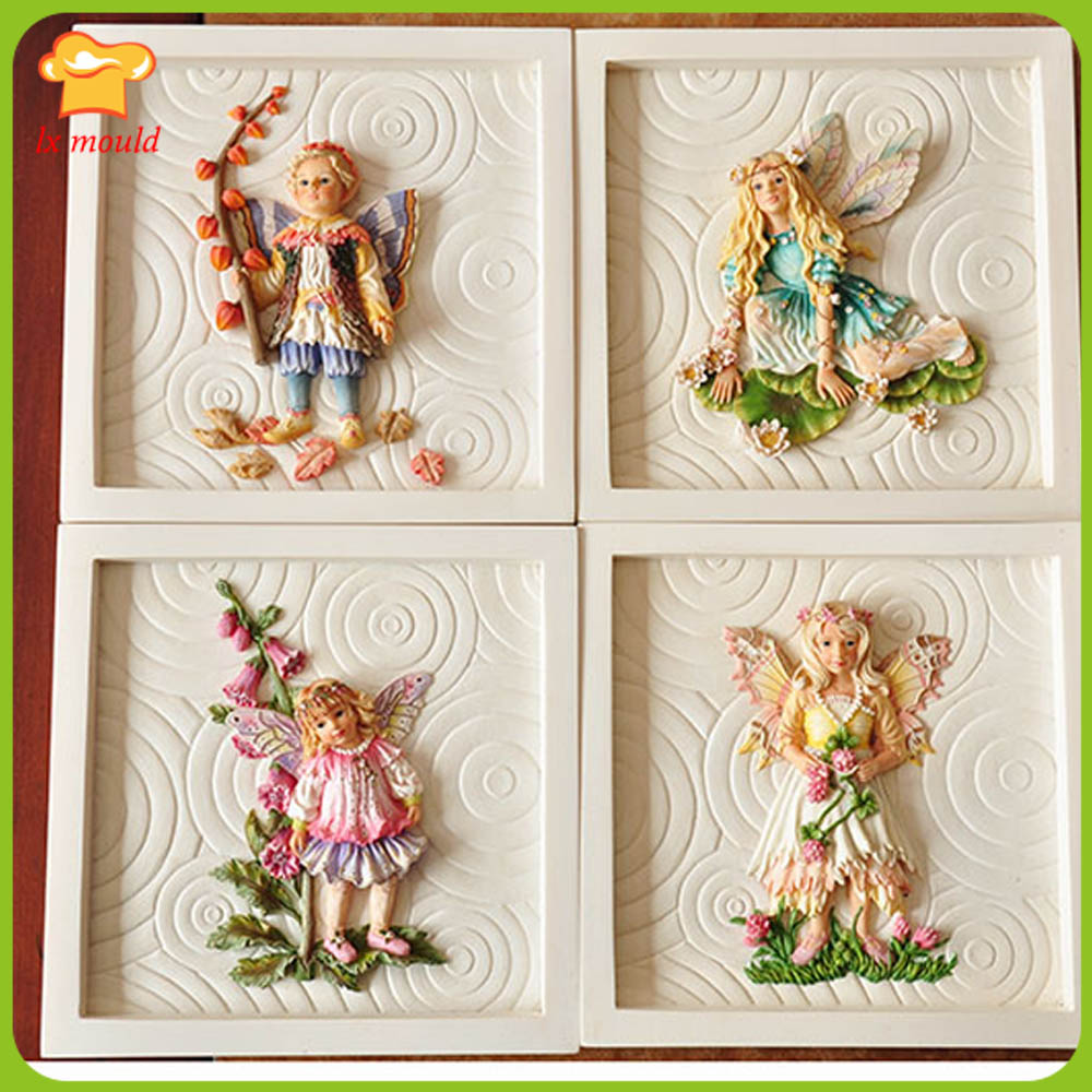 2019 New Flower Fairy Silicone Mold Angel Fondant Mold Chocolate Mould Ultra Light Clay Cake Decoration Mold Relief