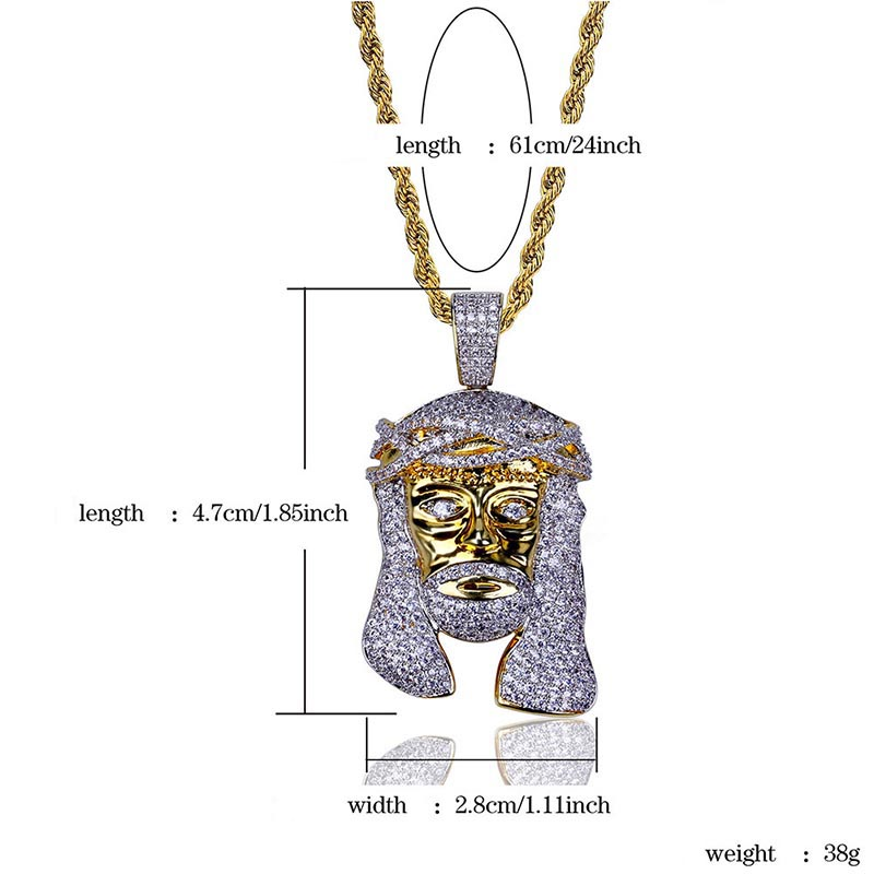 18K Gold Plated Jesus Pendant with Long Necklace, AAA CZ Iced Out Jesus Pendant