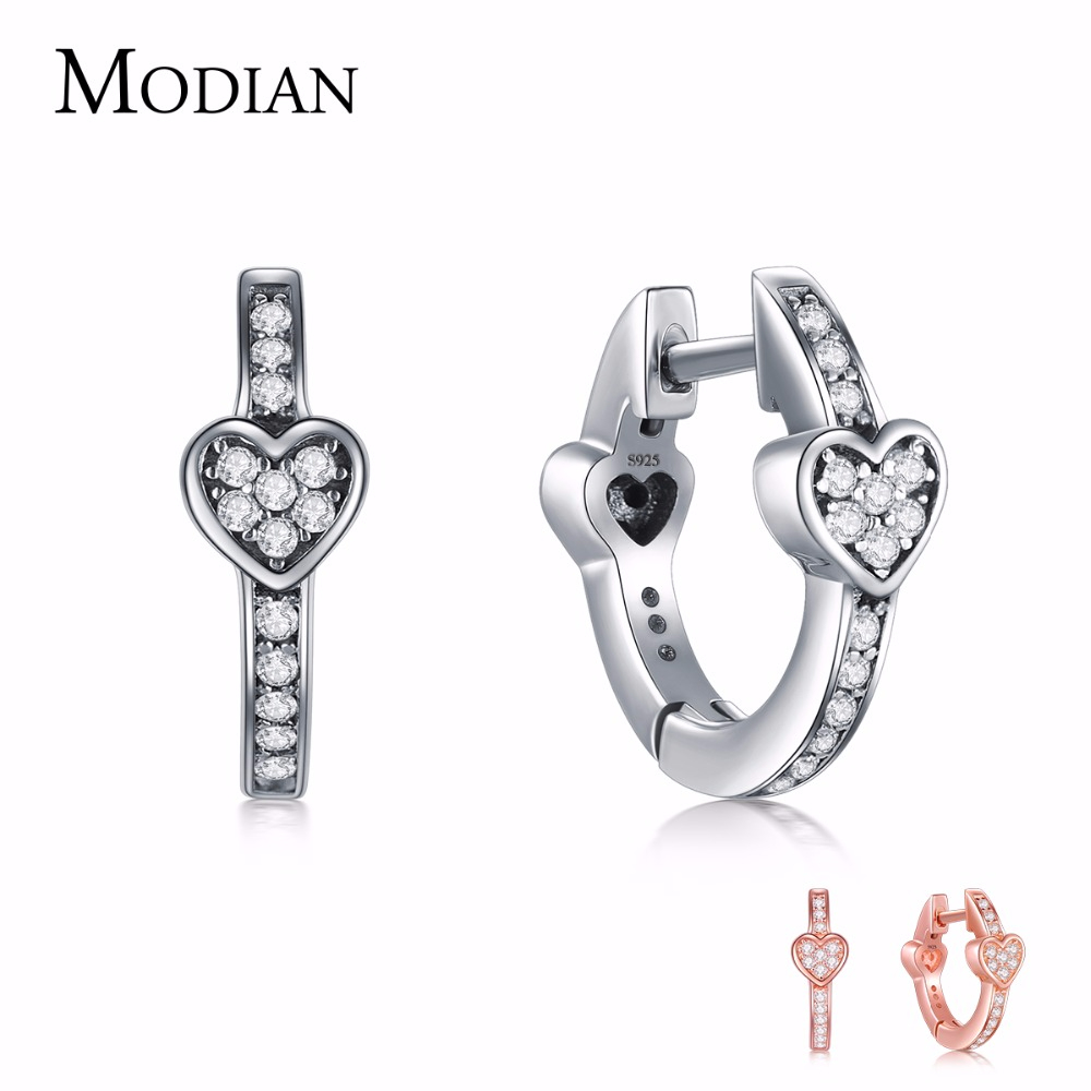 Modian Charm Fashion 100% Real 925 Sterling Silver Hearts Dazzling CZ Hoop Earrings For Women Crystal Sterling Silver JewelryModian Charm Fashion 100% Real 925 Sterling Silver Hearts Dazzling CZ Hoop Earrings For Women Crystal Sterling Silver Jewelry