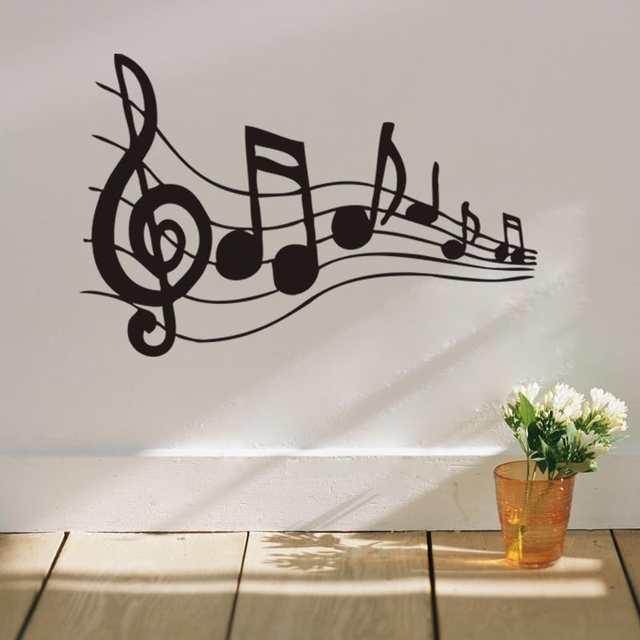 Online Shop Nota Musicale Wall Art Wall Stickers Black Music ...