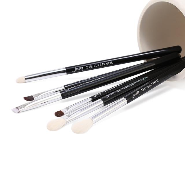 Jessup Black/Silver Professional Makeup Brushes Set Make up Brush Beauty Tools kit Eye Shader Liner natural-synthetic hair 5